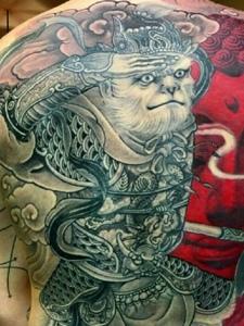 一组满背日式图腾纹身图案个性张扬