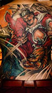 传统大图满背钟馗纹身图案