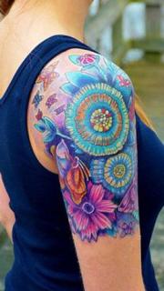 手臂的水彩蝴蝶花朵纹身图案