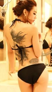 辣模金美辛内衣写真秀纹身