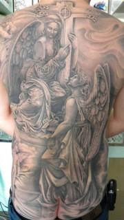 欧美风格的满背天使刺青