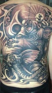 满背霸气的普贤菩萨纹身图案