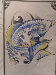 经典传统的鲤鱼纹身手稿