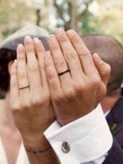 携手一生的情侣手指戒指纹身