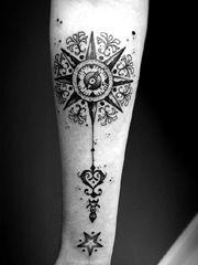 简约的黑灰手臂指南针纹身大全