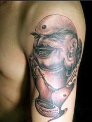 男士喜爱的弥勒佛纹身