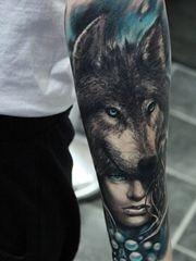 男士钟爱的帅气的狼头纹身