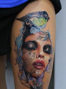 个性女性肖像纹身图案