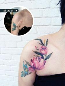 完美掩盖肩膀疤痕花蝴蝶纹身
