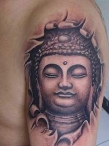 大臂黑白如来佛祖纹身刺青