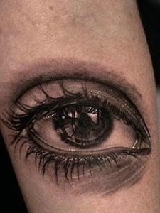 经典明亮的手臂3d眼睛纹身图案