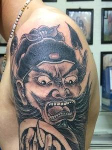 霸气的老传统手臂钟馗纹身刺青