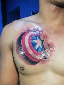 个性男士胸口一款另类图腾纹身刺青