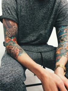 欧美街头潮流手臂时尚图案刺青