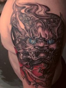 东方神话中的唐狮子王权力量刺青