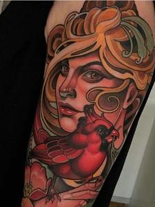 一组欧美新传统彩色图腾纹身图案