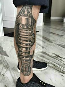 腿部外侧3d机械纹身图案很霸气