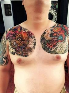超级有男人味的双半甲般若纹身图案