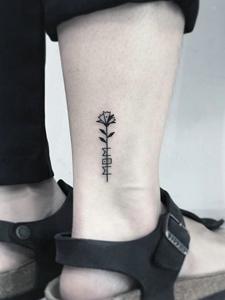一组裸脚小清新图案纹身刺青