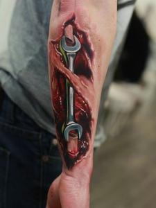 手臂超级逼真的3dj机械纹身图案