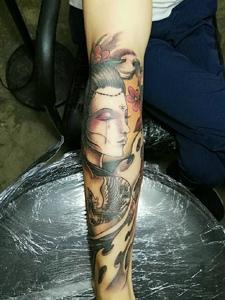 古代美女花妓纹身图案精神抖爽