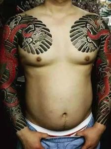 日式双半甲纹身图案丰富唯美
