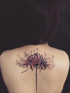 女生后背时尚美丽彼岸花纹身图案
