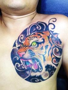 男士胸前可怕的彩色老虎纹身图案