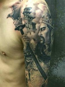 帅气威武的手臂经典关公纹身图案