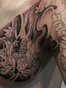 超级有男人味的半甲佛像纹身图案