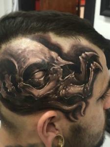 一组特别霸气的3d头部纹身图案