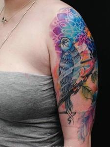 五颜六色的大臂小燕子纹身图案