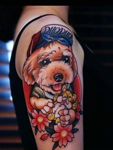 花臂日式大眼小狗纹身图案可爱极了