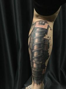 包小腿3d机械纹身非常的霸气