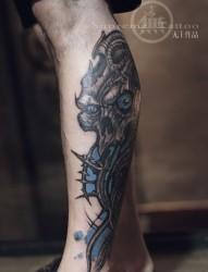 异形归来 花腿纹身  腿部纹身 外国手稿纹身