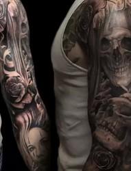 男性另类奇特花臂纹身