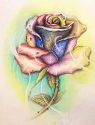 娇艳玫瑰纹身手稿欣赏