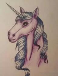 彩色独角兽纹身手稿欣赏
