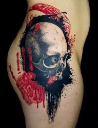 恐怖血腥的骷髅头纹身