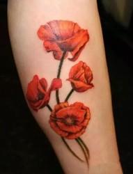 令人窒息的美  罂粟花纹身