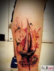 小腿部好看的帆船纹身