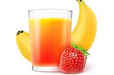 香蕉草莓果汁高清图片