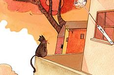 幸福猫插画图片