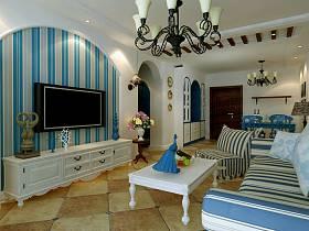 地中海客厅沙发电视柜单人沙发设计案例展示