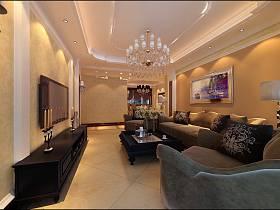欧式简欧简欧风格客厅吊顶电视背景墙装修图