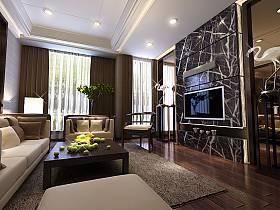 现代客厅别墅吊顶电视背景墙设计案例