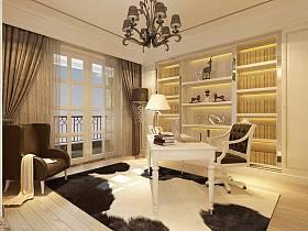 欧式书房吊顶窗帘灯具设计图