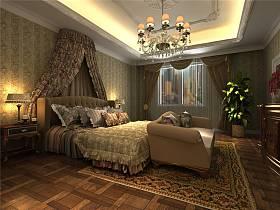 欧式卧室吊顶窗帘效果图