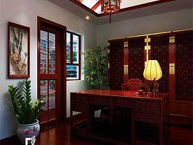 中式书房交换空间吊顶装修效果展示