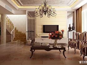 欧式客厅复式楼电视背景墙设计案例展示